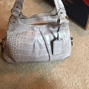 Coach light lavender reptile texture purse